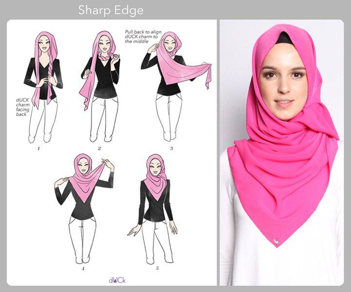 Sharp Edge hijab tutorial by duckscarves.