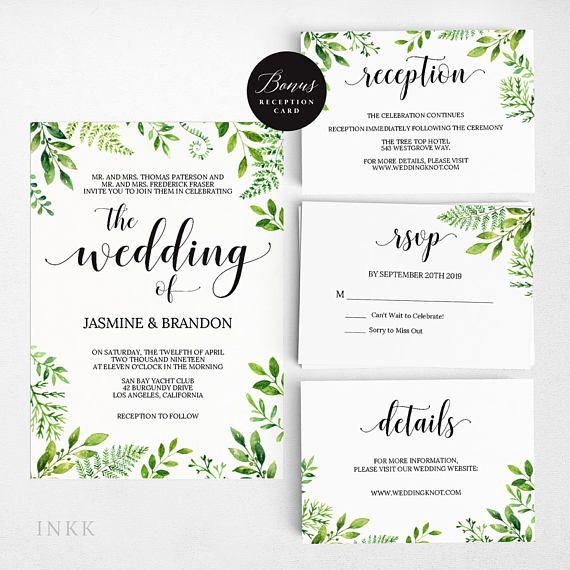 Rustic Wedding Invitation Template Greenery
