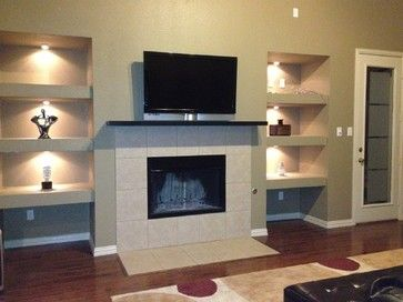 Built In Drywall Shelves And Lights Added In Empty Niche Built In Around Fireplace Bookshelves Around Fireplace Bookshelves Built In