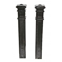 Pair Of C 1920 S Black Enameled Cast Iron Freestanding Commercial Building Staircase Newel Posts Newel Posts Enameled Cast Iron Golden Girls House