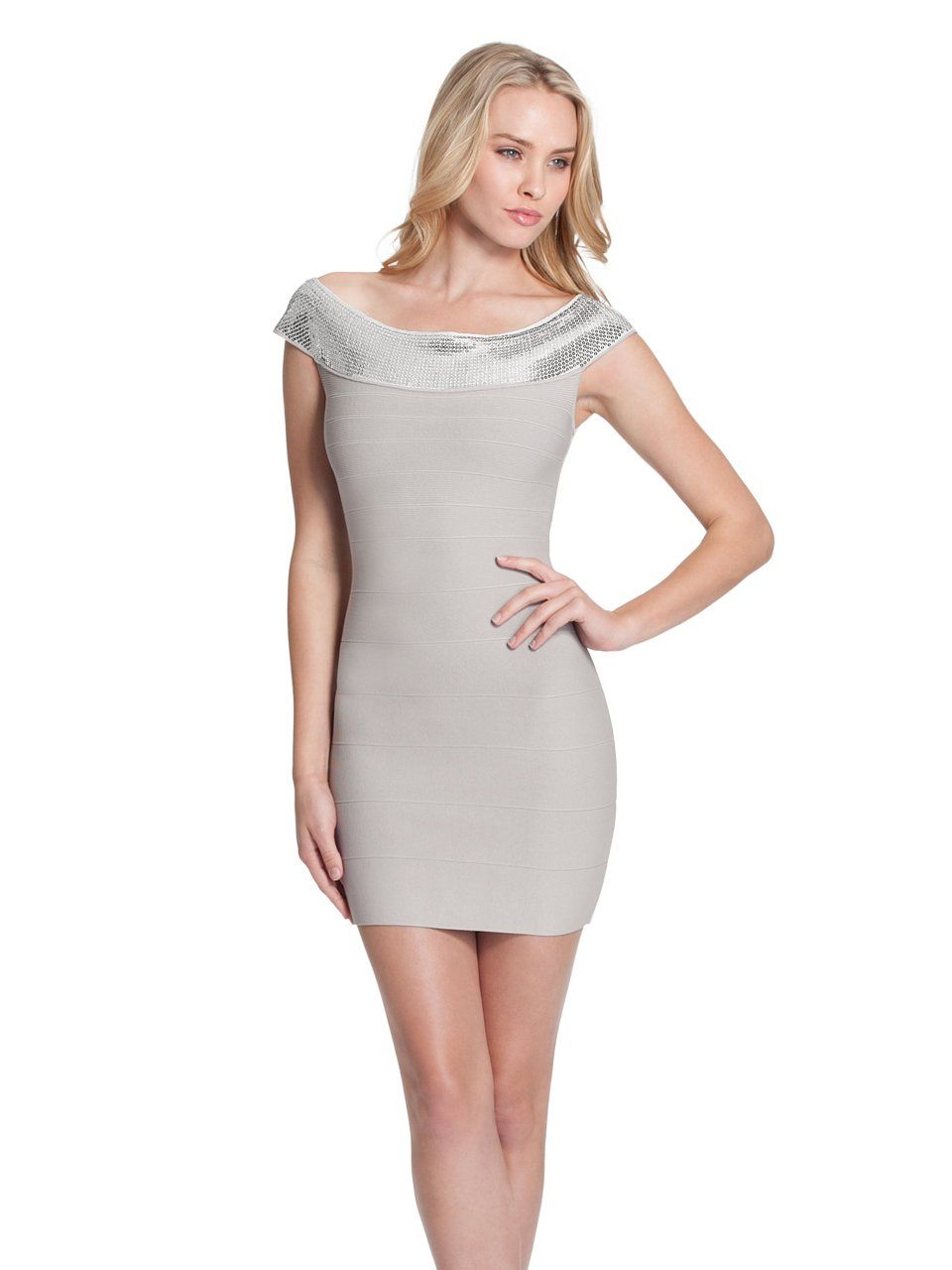 guess catherine dress, platinum silver (small) | kleider