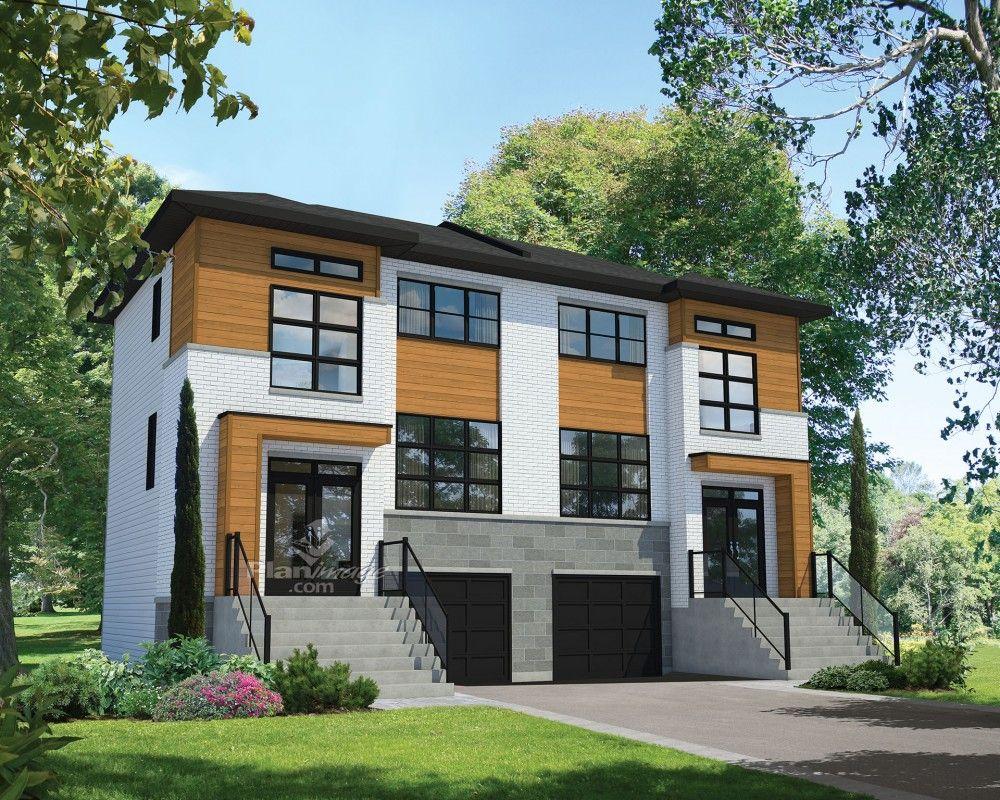 Ces maisons à étage jumelées comprennent trois niveaux hors sol et