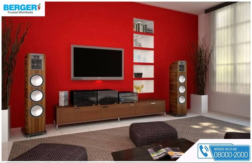 Tv Lounge Decoration Ideas try attractive red paint in your tv lounge ~ berger paints #paints