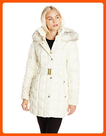 b6341ef6b08 Betsey Johnson Women s Puffer Coat with Faux Fur Hood and Quilted Sleeve