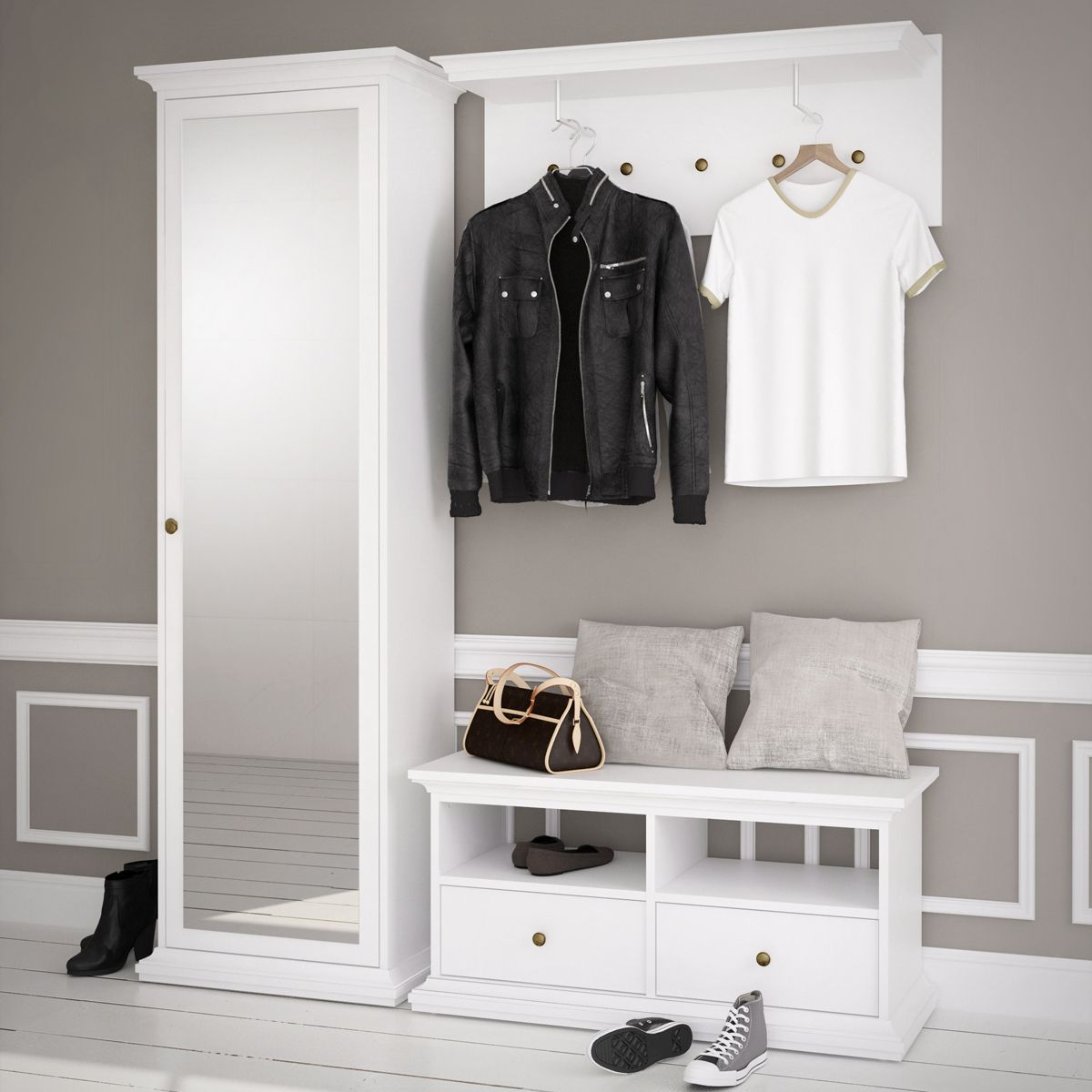 garderobe paris landhaus wei dielenschrank mit spiegel bank garderobenpaneel christine. Black Bedroom Furniture Sets. Home Design Ideas