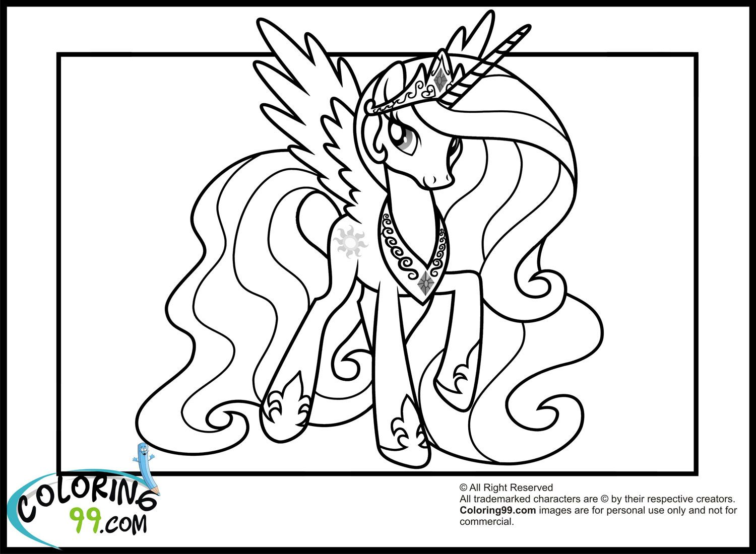 My Little Pony Princess Celestia Coloring Book Friendship Is Magic