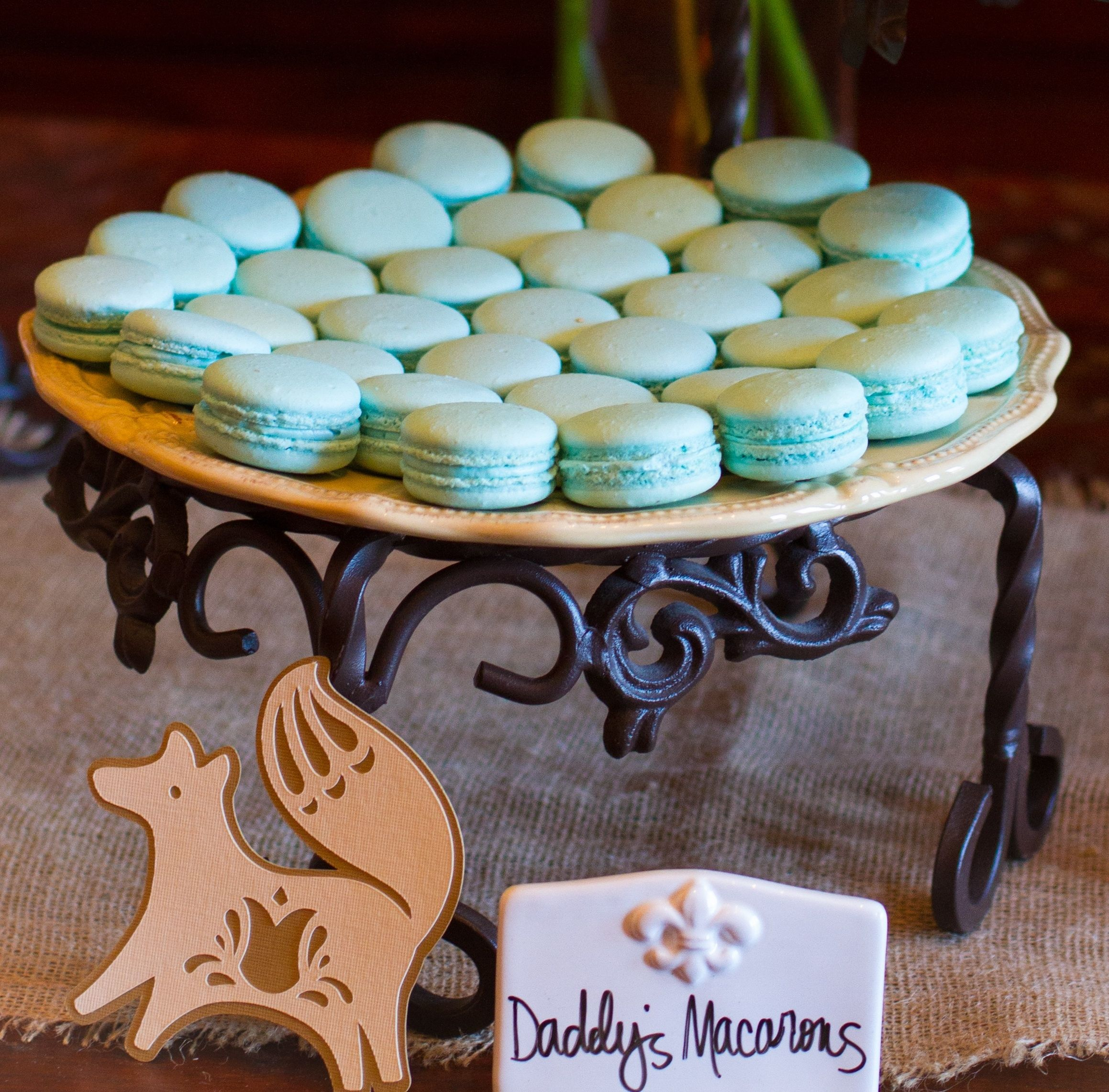 Pink or blue macarons make a beautiful centerpiece at your baby