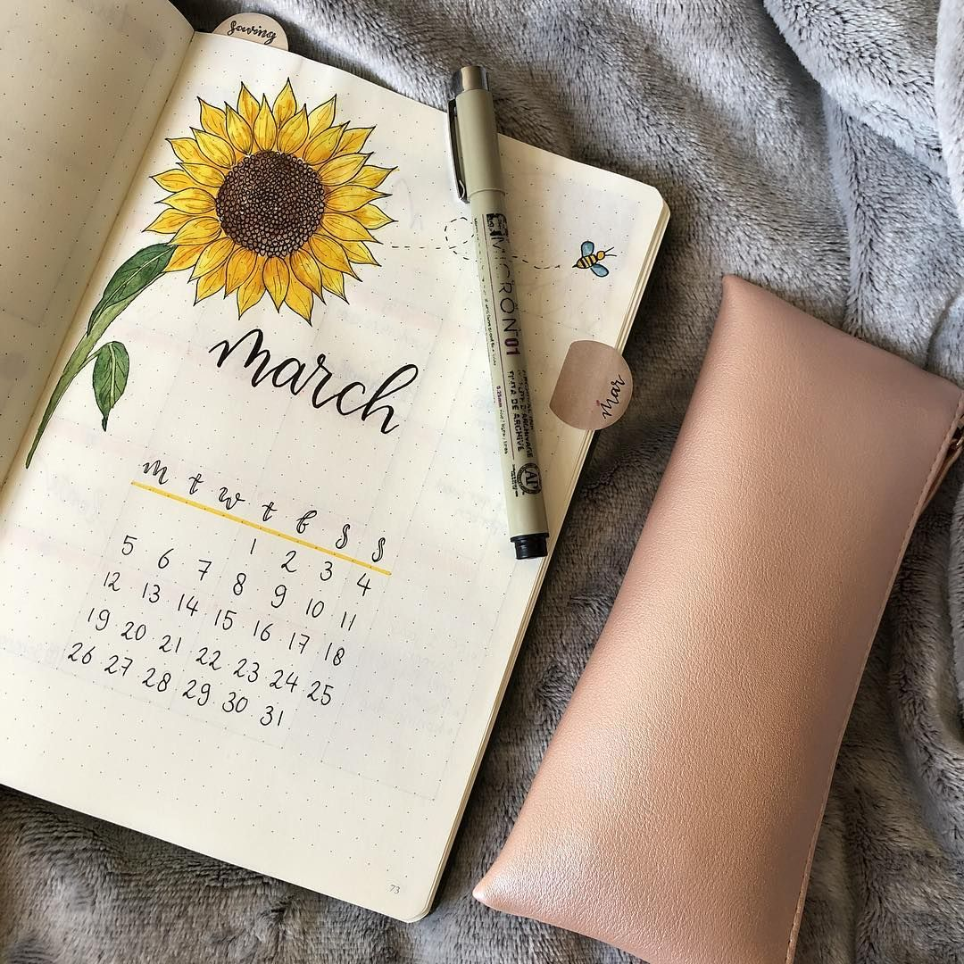 bullet journal monthly cover page march cover page sunflower