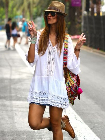 White V Neck Bell Sleeve Lace Eyelet Blouse EmmaCloth-Women Fast Fashion Online
