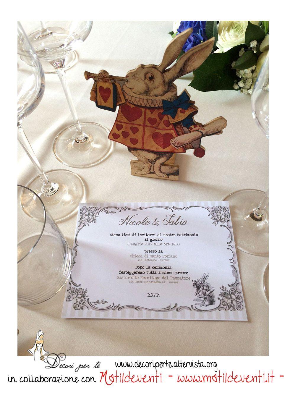 Alice In Wonderland Wedding Invitation Partecipazioni Alice Nel