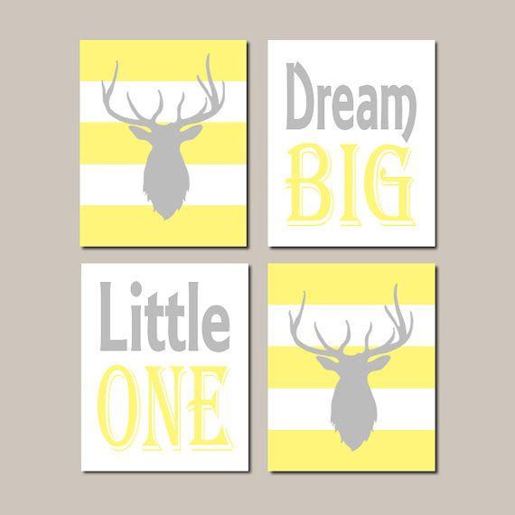 Deer Nursery Decor, Yellow Gray Nursery Wall Art, Dream Big Little ...