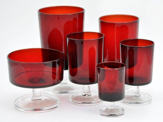Vintage Wine Glasses Ruby Red Luminarc by JollyPollyPickins, $125.00