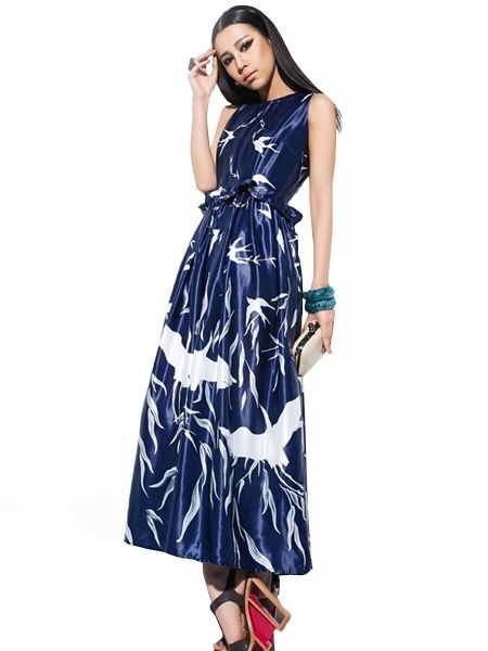 47c861bad805 Simple Newly Fashion Satin Floral Maxi Sleeveless Dress