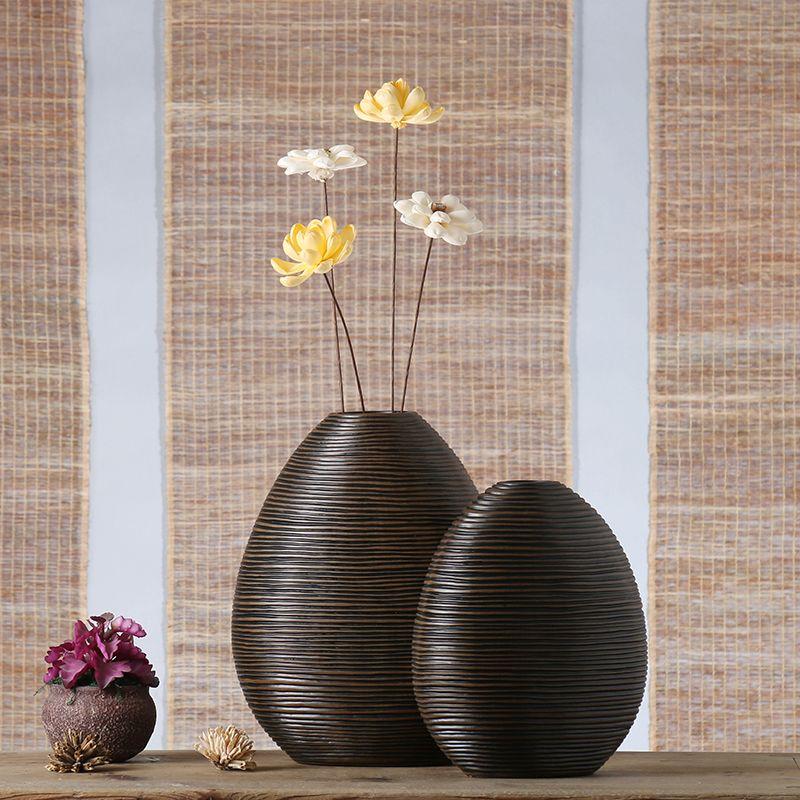 Oval Resin Creative Abstract Retro Flowers Vase Pot Vintage Statue Home Decor Crafts Room Decoration Resin Large Flo Wooden Decor Large Floor Vase Decor Crafts