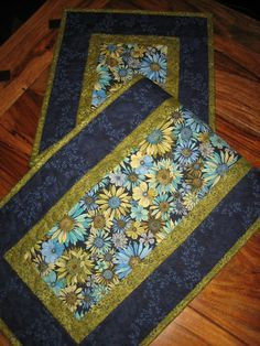 Quilted Table Runner Blue Gold and Turquoise by TahoeQuilts