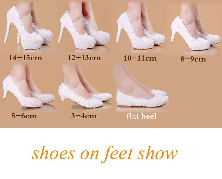 Beautiful Pearl and Lace White Wedding Shoes in seven heel heights ... 7263922fc13e