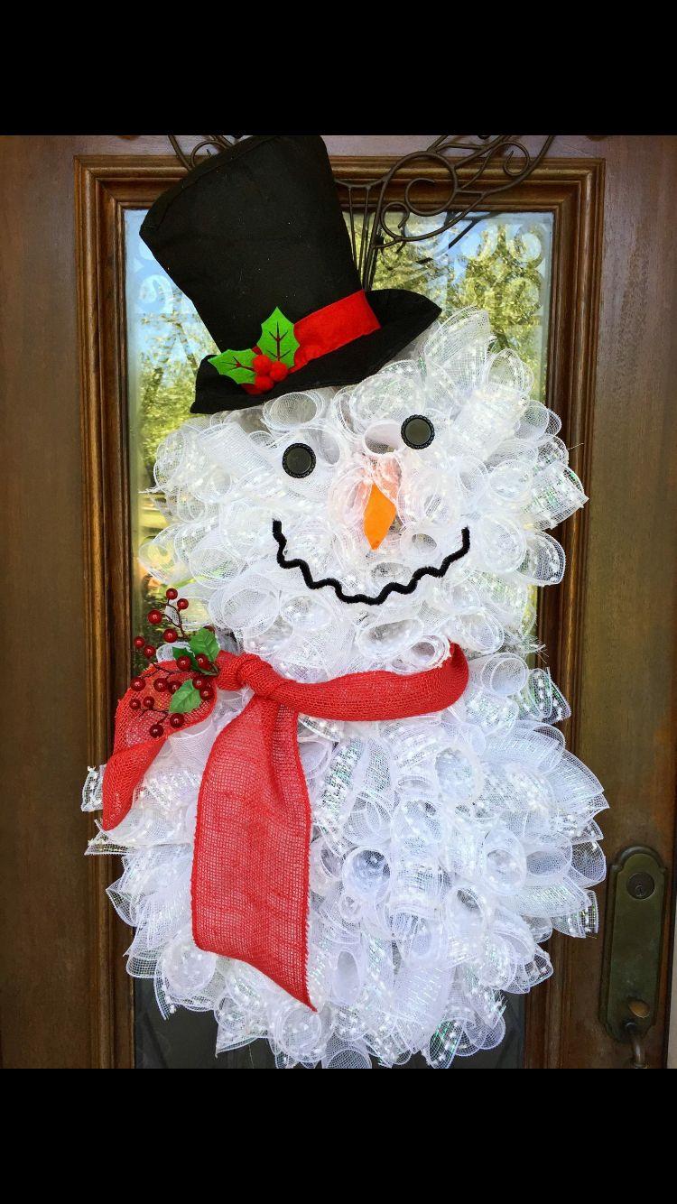 Snowman Wreath Www Facebook Com Southernsass Christmas Mesh
