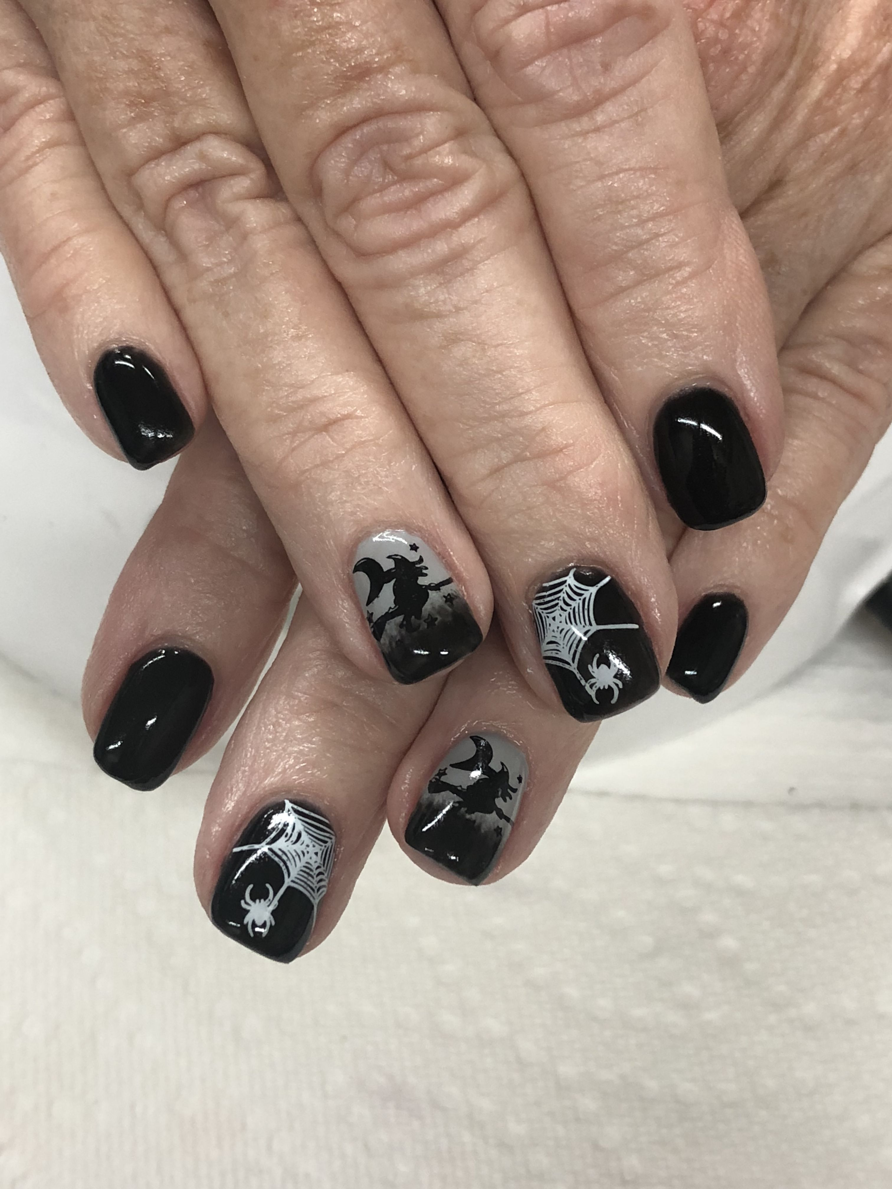Halloween Ombre Witch Spiderweb Gel Nails Nails Gel Nail Designs Halloween Nails