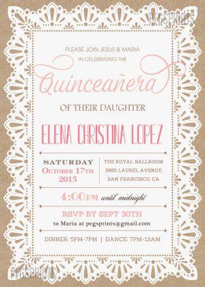 Quinceanera Invitation Sweet 15 Invitations Quince Personalized Invites Wording