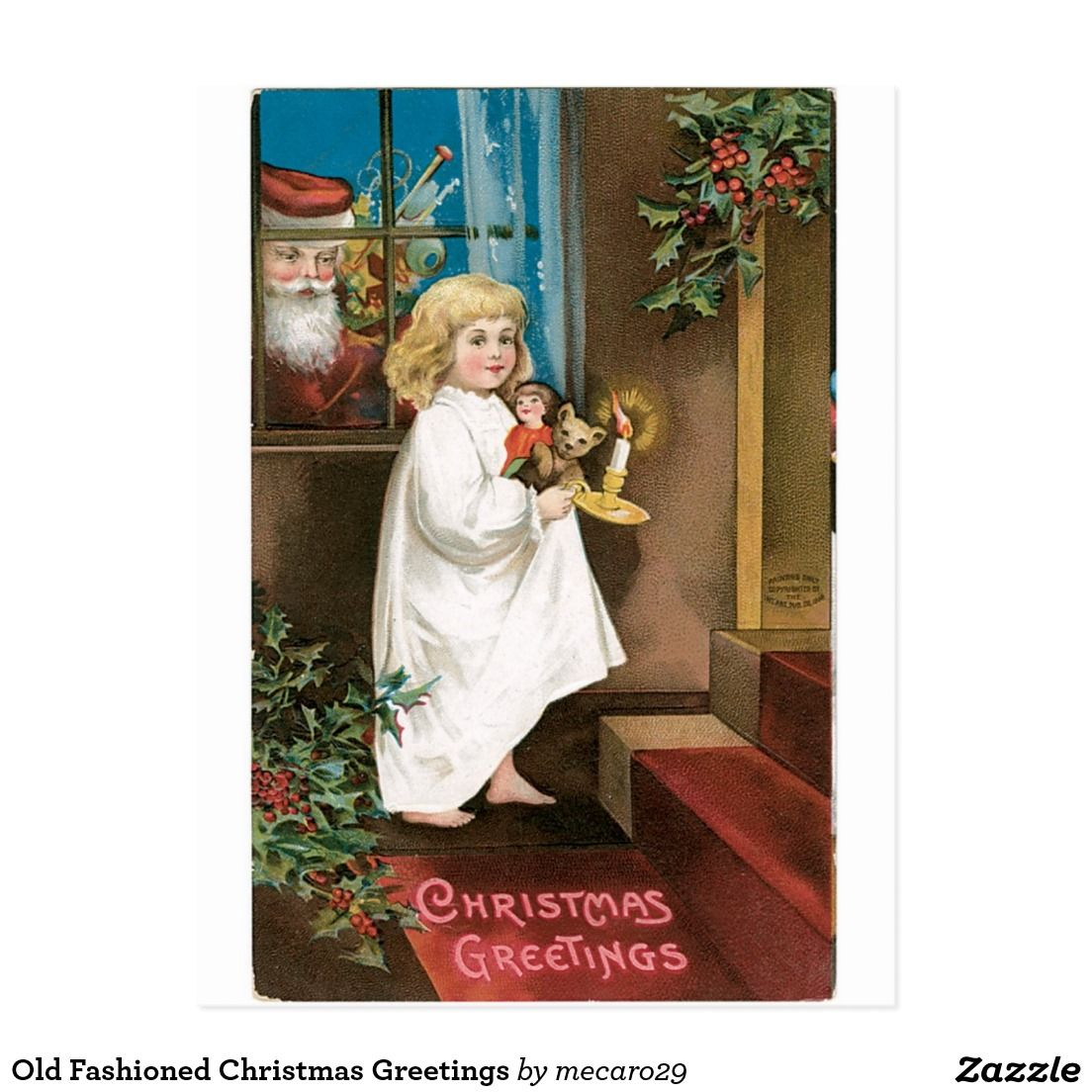 Fashioned christmas greetings postcard old fashioned christmas greetings postcard kristyandbryce Image collections