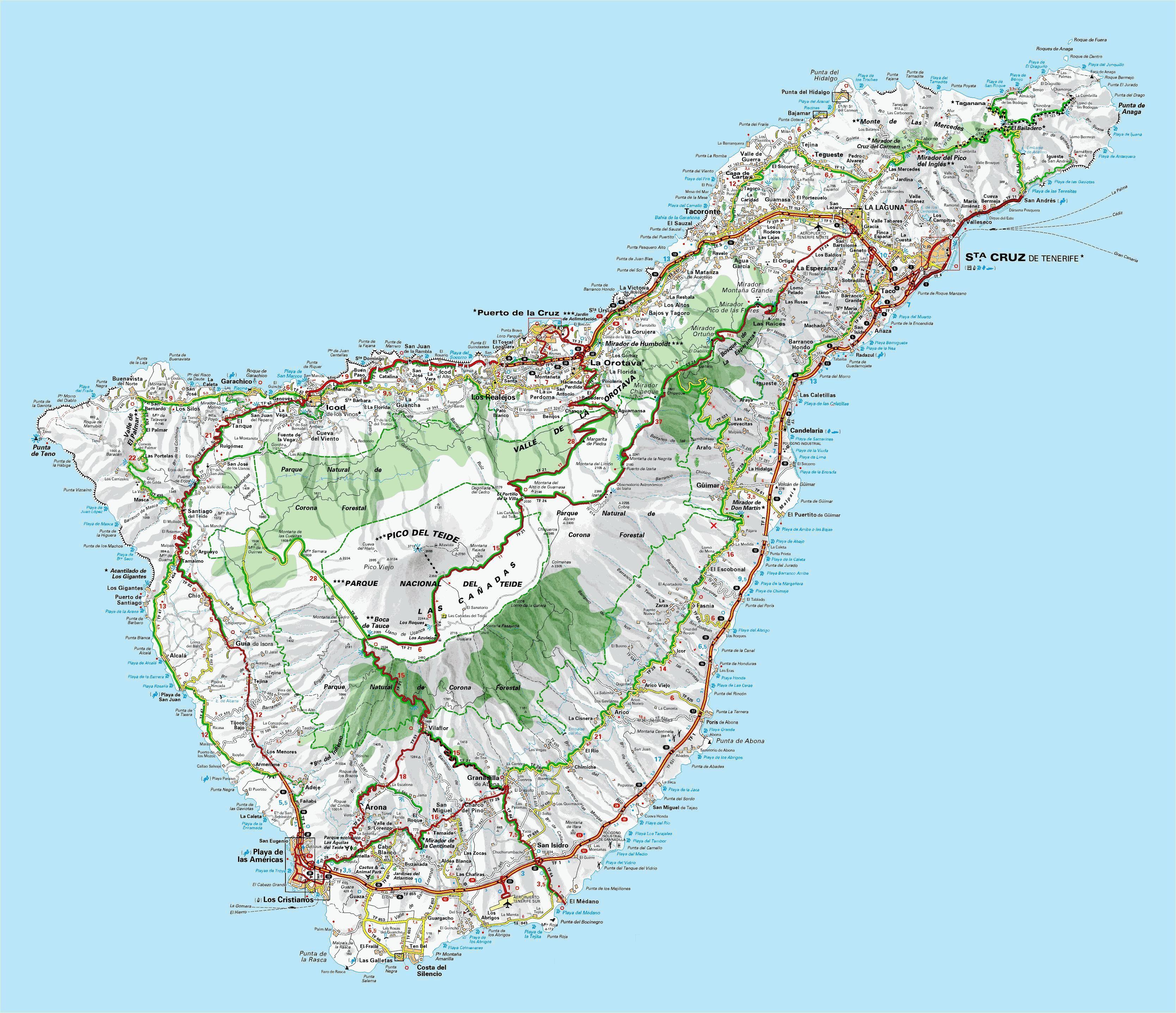 Espagne Iles Canaries Tenerife Mapa 4x4 Canaries Tenerife
