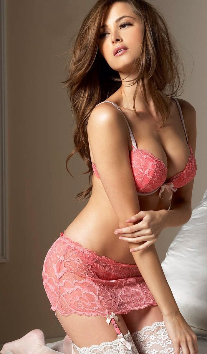 Sexy girl in pink lingerie