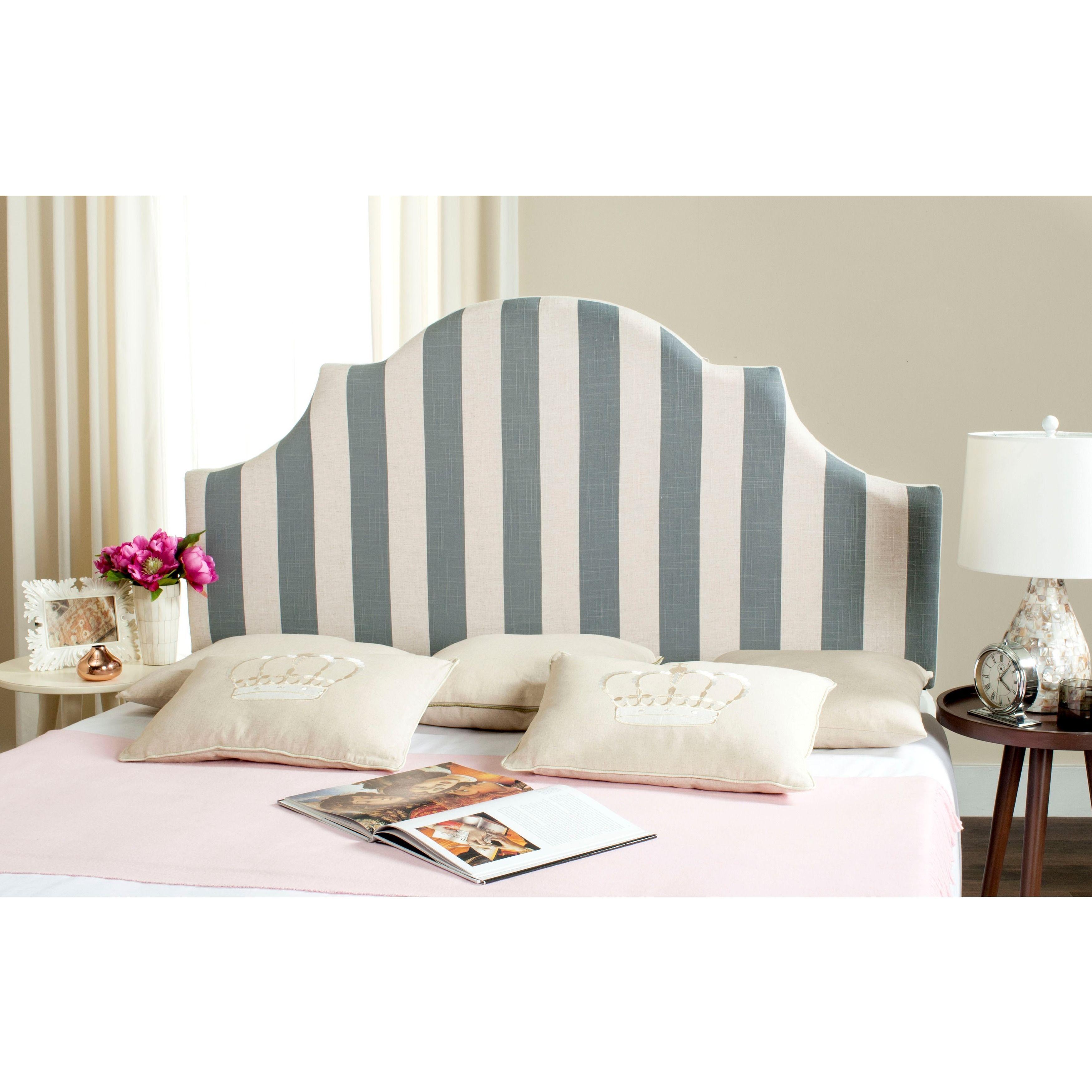 3111d5026a7ffe Safavieh Hallmar Grey/ White Stripe Upholstered Arched Headboard (Queen)  (MCR4680M)