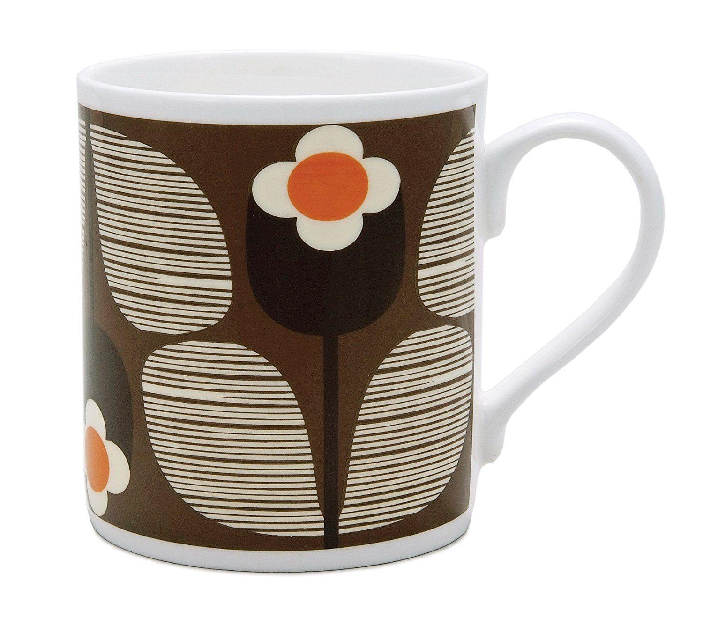 Orla Kiely Wallflower Stripe Cup, Chocolate Design Amazon