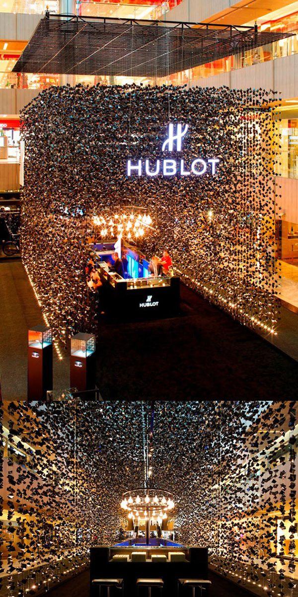 Hublot pop-up store in Singapore | A rain of black gems