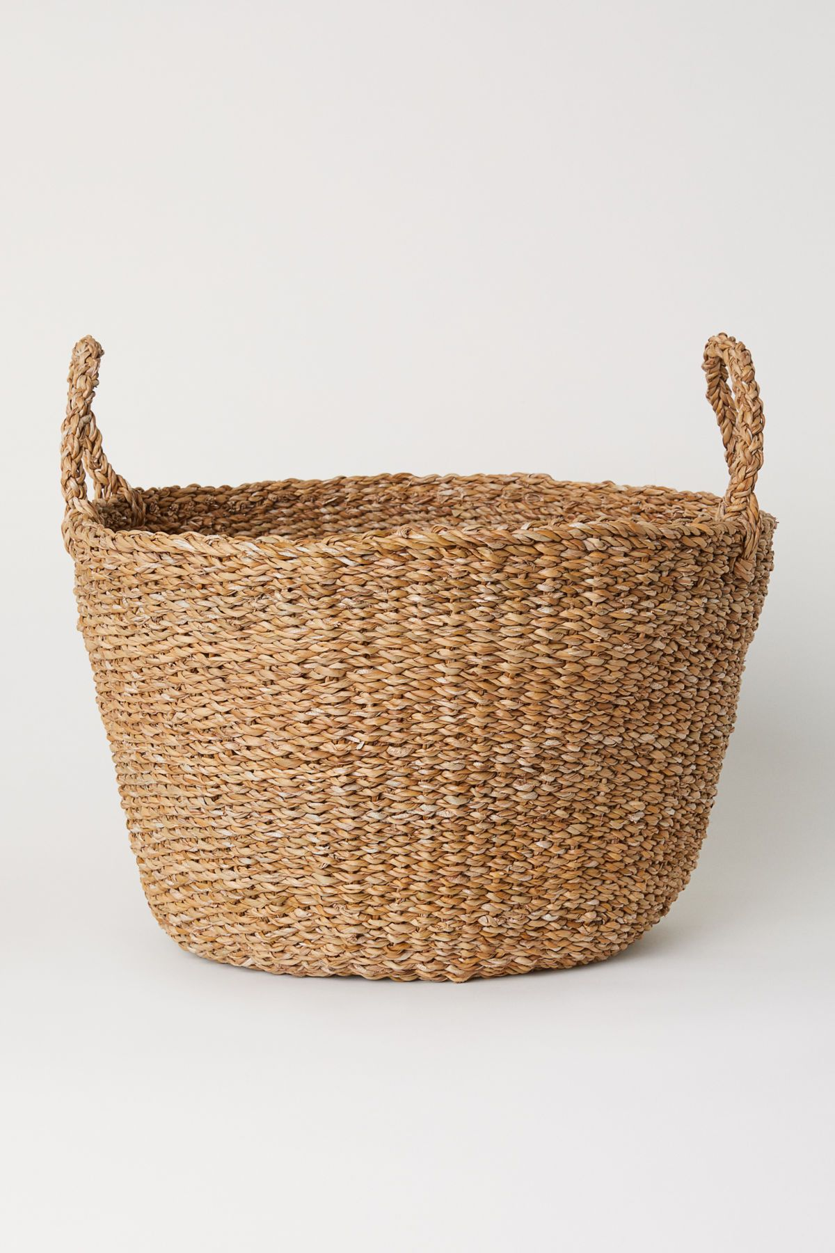 Large Storage Basket In Thick, Braided Seagrass With Two Handles