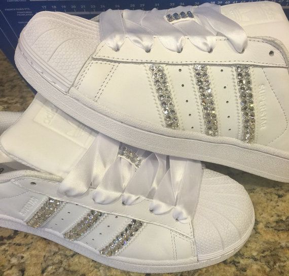 ADIDAS Superstar WOMENS All White Shoes Blinged With