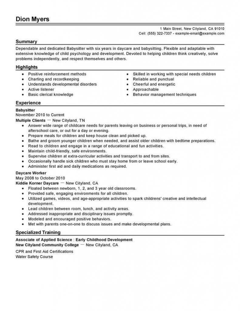 Babysitter Job Description For Resume Beautiful Babysitter Job Description Resume Letter Templates Nanny