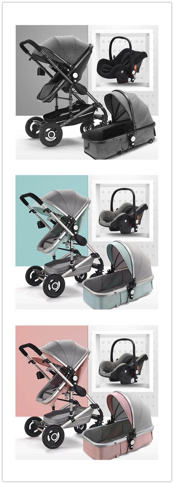 Multifunctional 3 in 1 Baby Stroller with Car Seat
