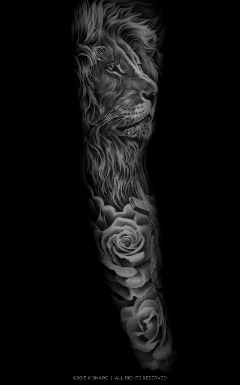 150 realistic lion tattoos and meanings 2017 collection - If You Want To Make Tattoo Cross Lion And Rose Yourself And You Are Looking For The Suitable Design Or Just Interested In Tattoo Then This Site Is For You