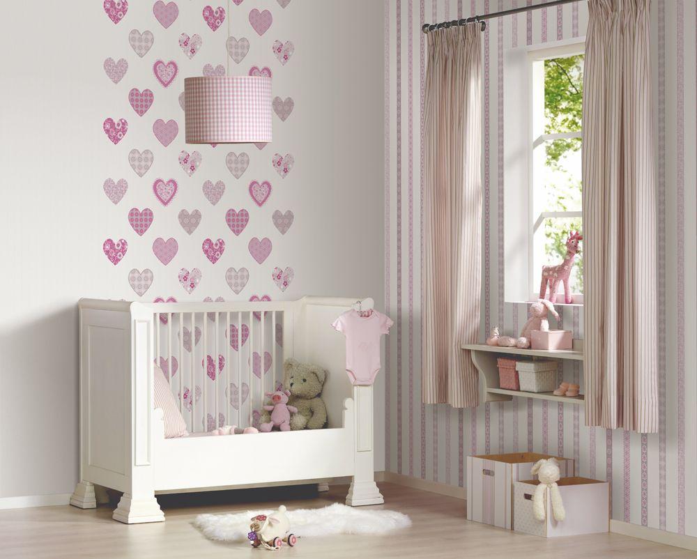 Behang Kinderkamer Roze : Behang kinderkamer roze elegant roze sterren behangkoop goedkope