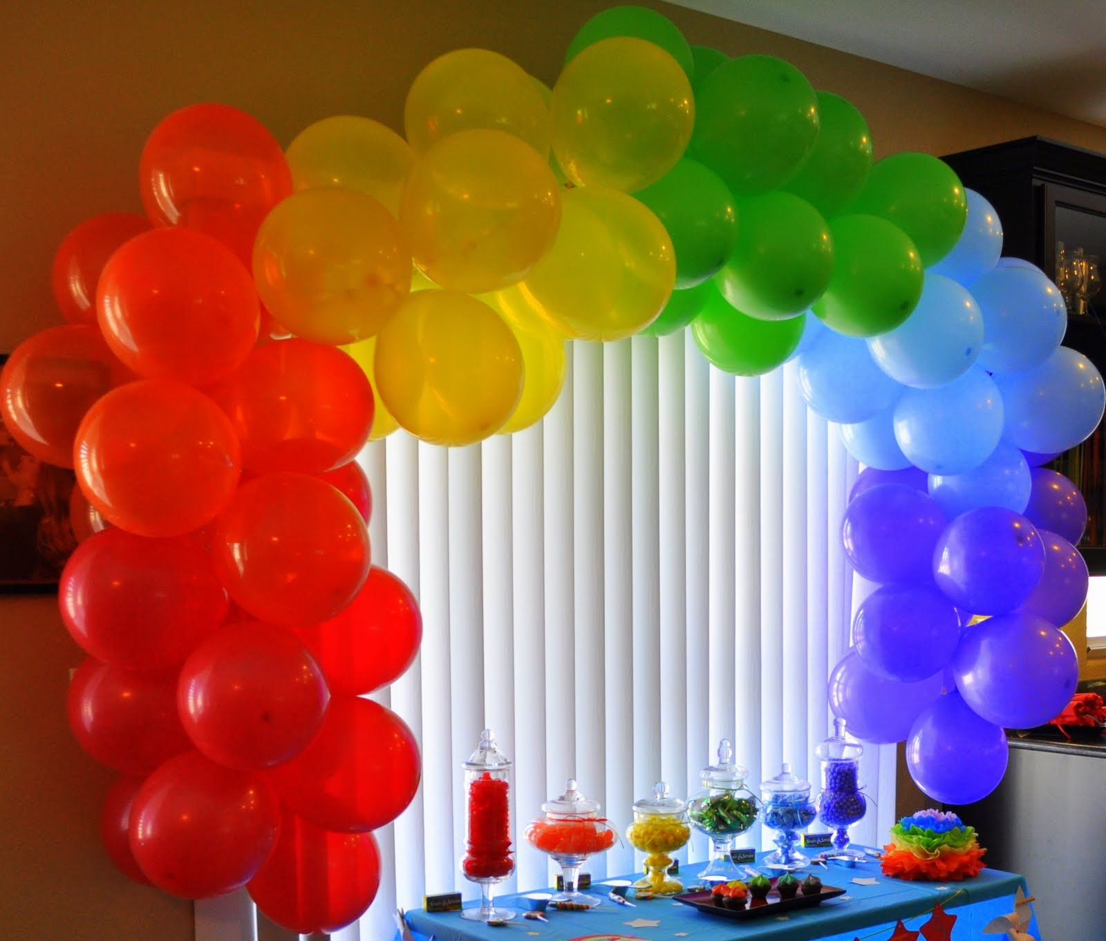 Balloons Rainbow We Used A Balloon Arch Strip From Party City To Tie The Balloons To T Party City Balloons Glitter Birthday Parties Care Bears Birthday Party