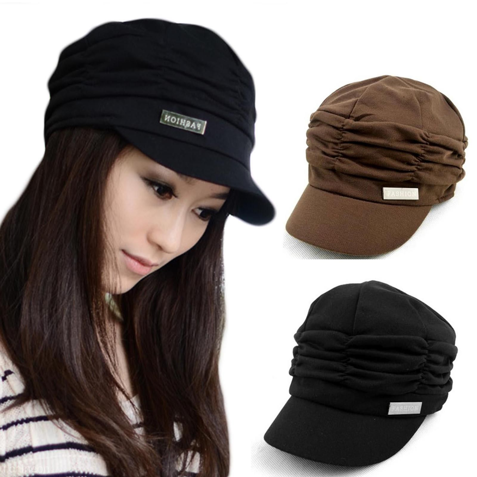 786fb89d40e Women Girl Fashion Pleated Layers Beret Beanie Hat Peaked Brim Cap Sun  Protector