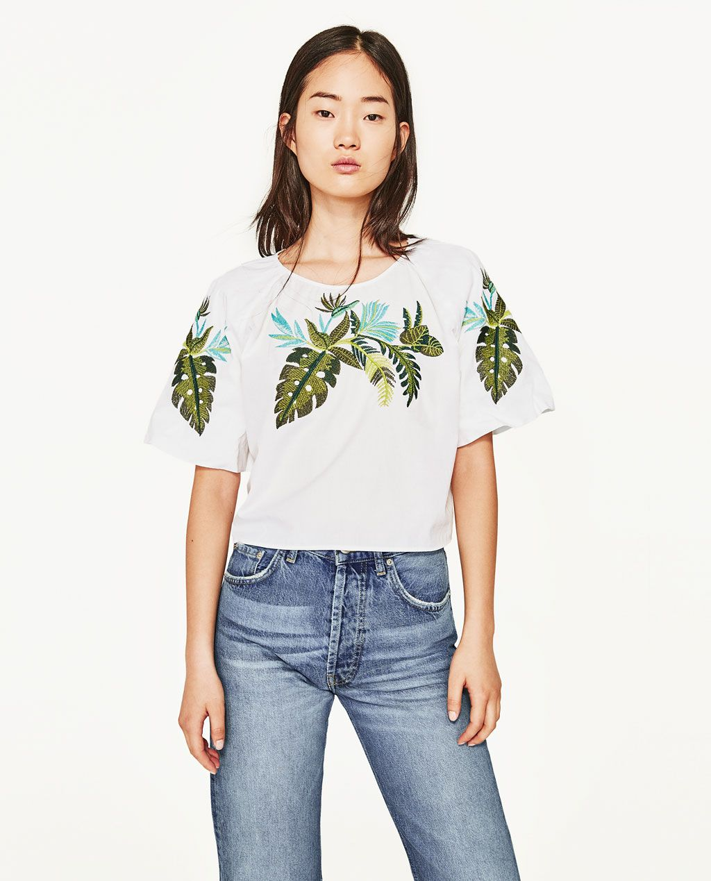 31ffd78f EMBROIDERED LEAVES BLOUSE-Blouses-TOPS-WOMAN | ZARA United States ...
