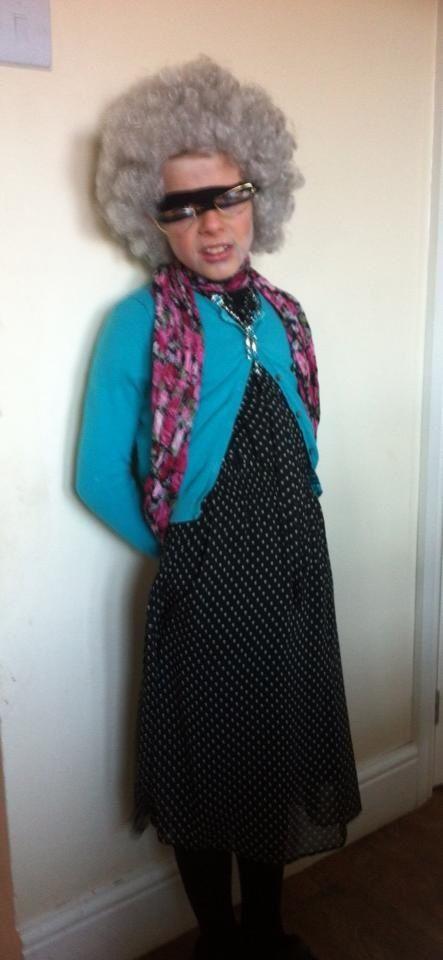 Girls Gangsta Granny Costume Book Week David Walliams Kids Deluxe Fancy Dress