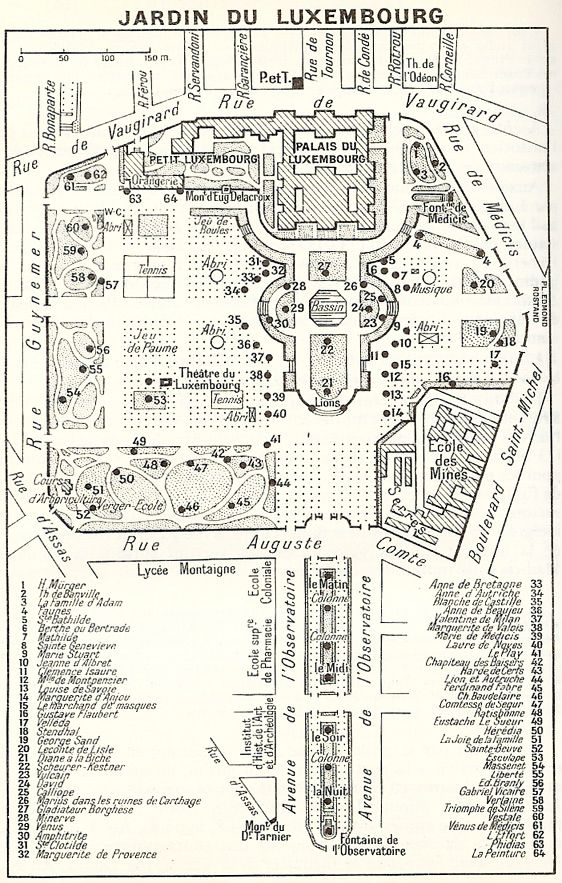 Map Of Paris France 6th Arrondissement.A Vintage Map Of Le Jardin Du Luxembourg In The 6th Arrondissement