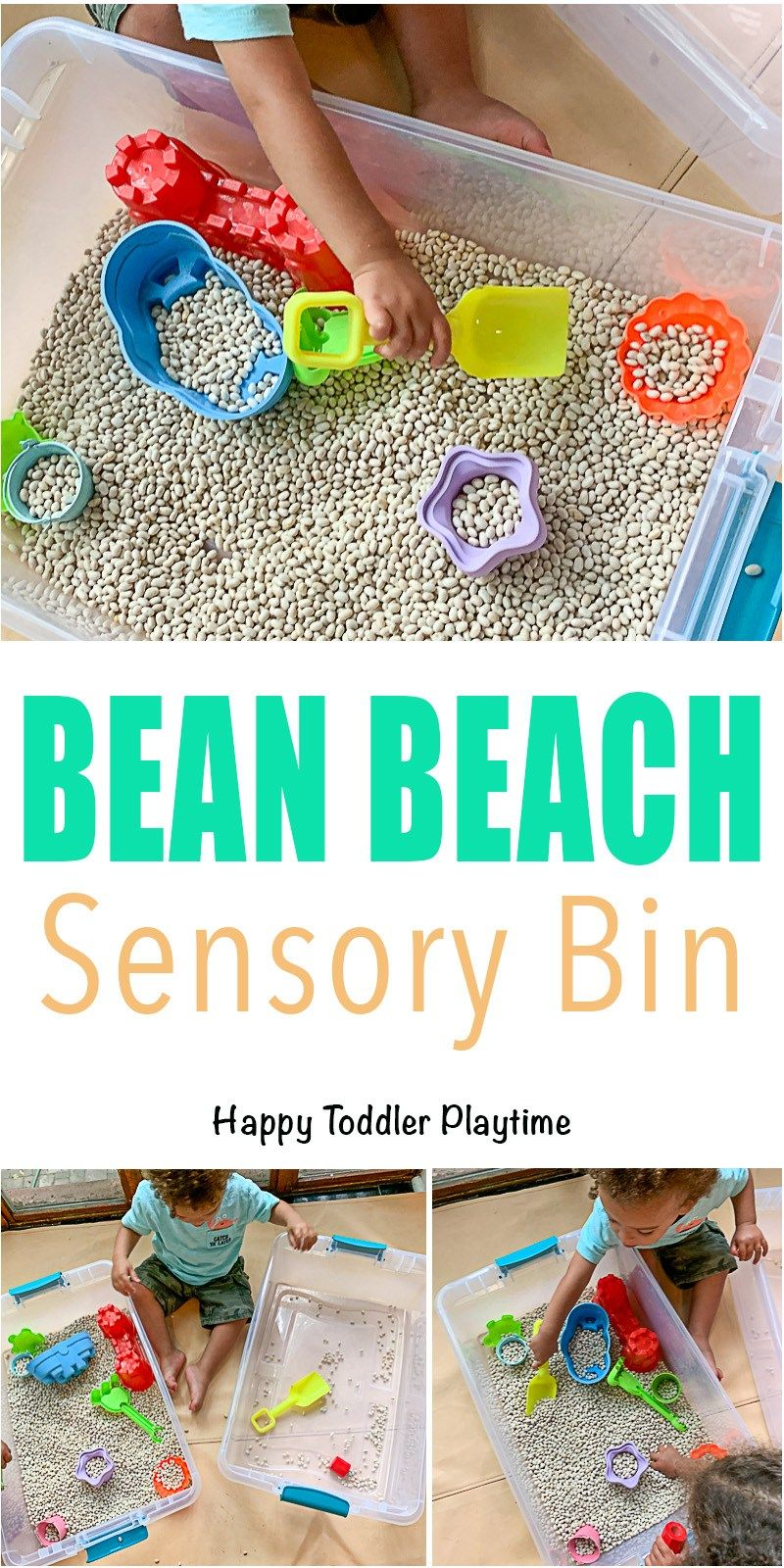 Bean Beach Sensory Bin - HAPPY TODDLER PLAYTIME