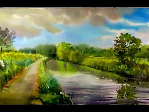 How to quickly paint a landscape watercolor painting