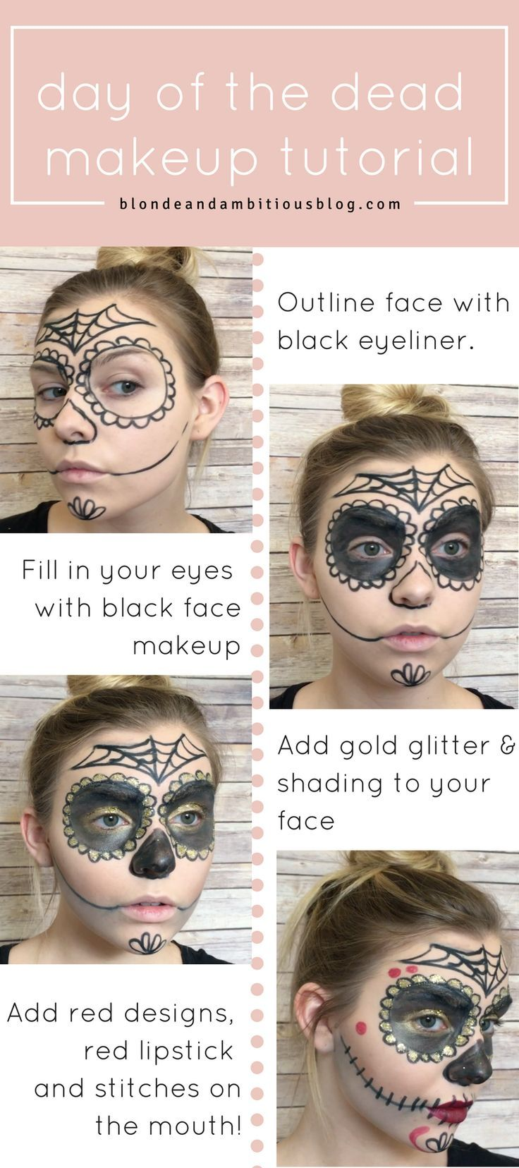 Sugar skull halloween makeup tutorial dead makeup sugar skull day of the dead makeup tutorial find out how to create this look baditri Images