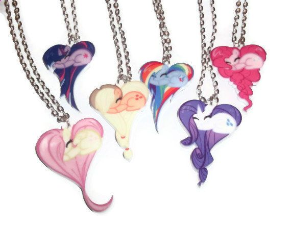 My little pony necklace set 7 heart shape pony necklaces pony my little pony necklace set 7 heart shape pony necklaces mozeypictures Images
