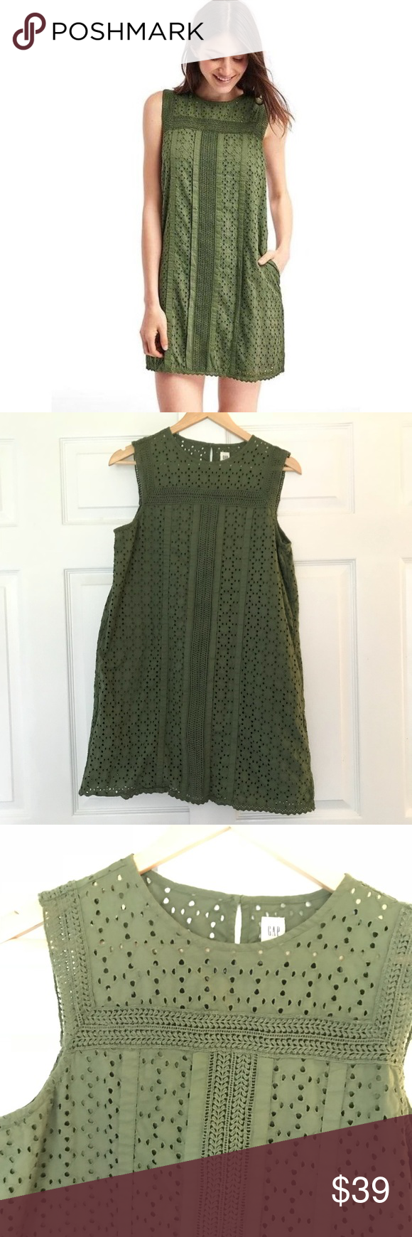 Gap Olive Green Eyelet Shift Dress Euc Clothes Design Shift Dress Gap Dress [ 1740 x 580 Pixel ]