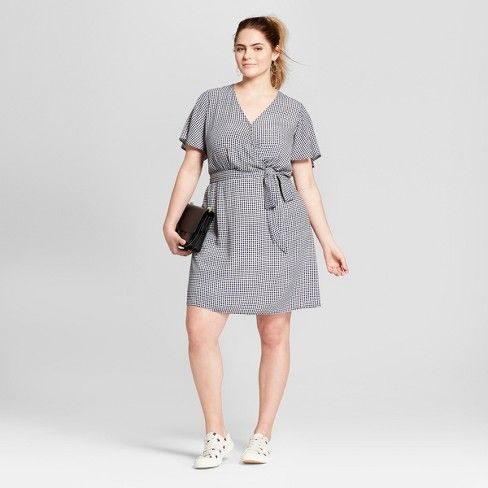 Womens Plus Size Gingham Wrap Dress Xhilaration Navywhite