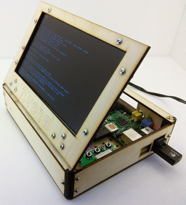 WildCircuit's Pivena laser-cut case with 7-inch LCD lid and plenty of storage for extra hardware.