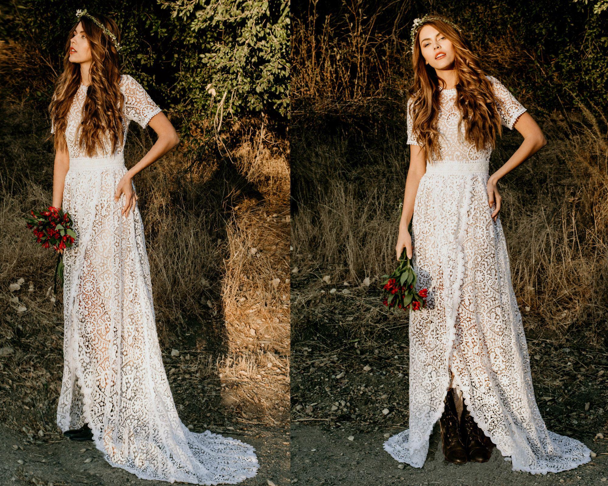 Wedding Dress Boho Wedding Dress Crochet Lace Short Sleeve Etsy Lace Dress Boho Boho Wedding Dress Lace Wedding Dress Vintage [ 1600 x 2000 Pixel ]