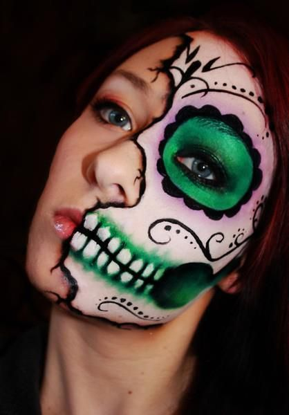 diy halloween makeup elaborate half face sugar skull