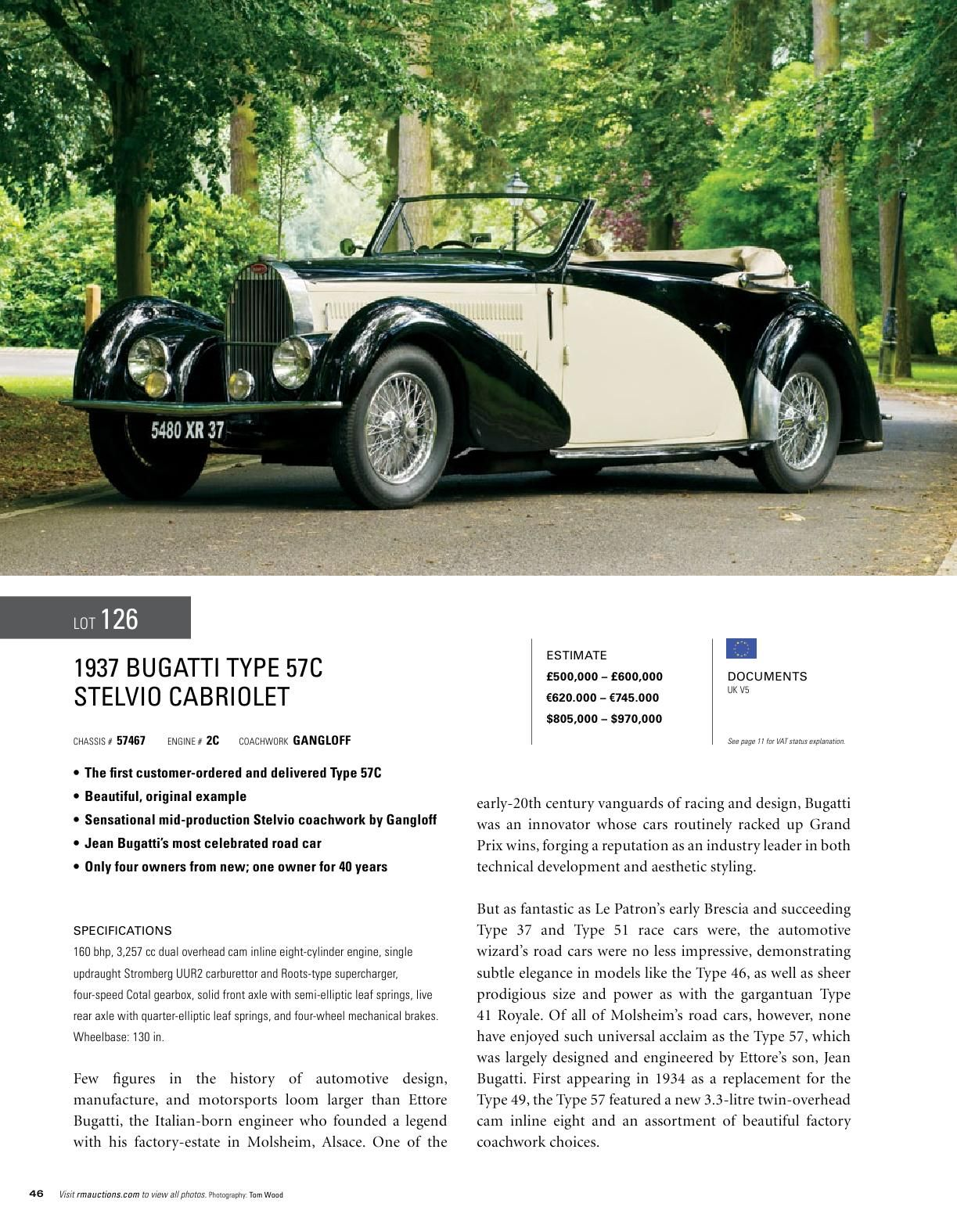RM Auctions 1937 Bugatti Type 57 C Stelvio Cabriolet | Old Cars ...